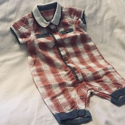 0-3 Month Red Check Romper